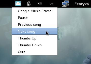 Google Music Frame 在 gnome顶部面板