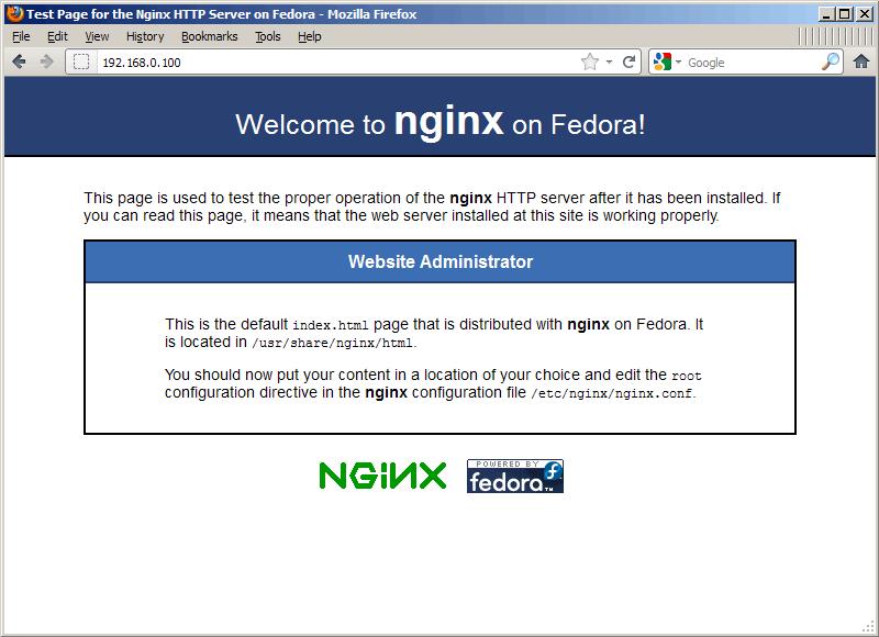 nginx-fedora