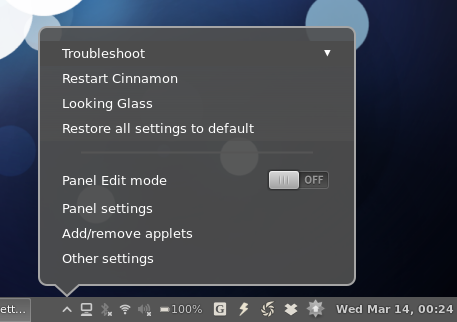 Cinnamon Settings applet