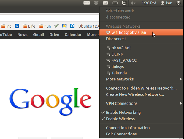 该文由土木坛子转译而来,说是转译,其实看截图就可以方便的设置,没有任何命令,全是图形界面,方便容易。我们都知道怎样在 windows 7 系统上如何设计 Wifi 热点,当你只有一条网线,多台计算机的时候,又不想再去购买一台路由器,如何设置 Ubuntu 计算机为 Wifi 热点。 这篇文章中将展示如何设置 Ubuntu 12.