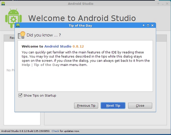 Android Studio 0.8.12