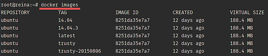 List Docker images.