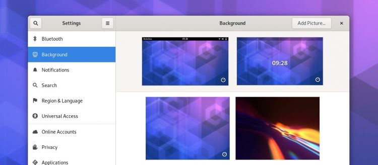 GNOME设置背景面板的屏幕截图