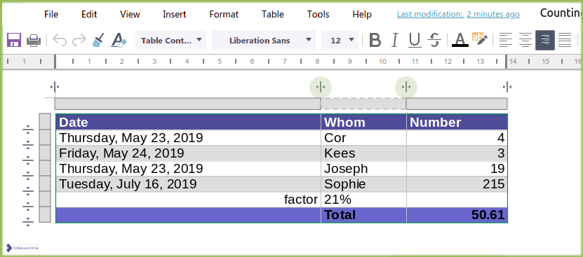 Table handles in Writer online