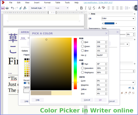 Color picker in Writer online