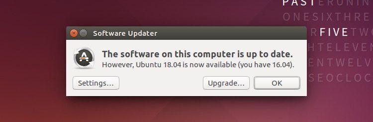 ubuntu 18.04升级通知的屏幕截图