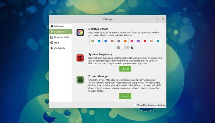 Linux Mint 20欢迎屏幕