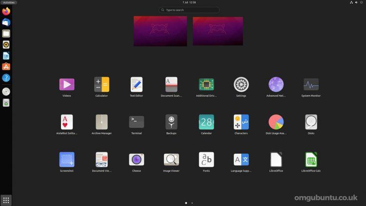 Ubuntu 21.10 中的 GNOME 40 应用启动器每日构建