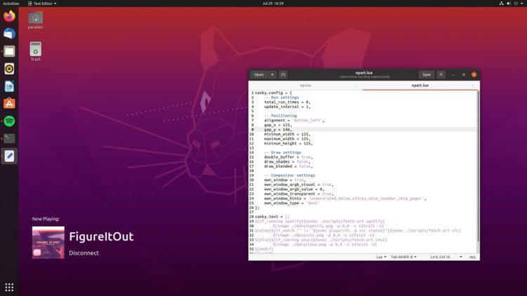现在在 Ubuntu 20.04 LTS 上计时 Conky 脚本的另一个屏幕截图