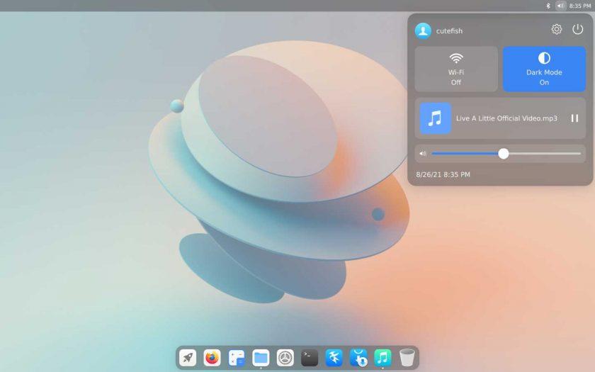 暗模式下的CuteFish OS Ubuntu - 控制中心的屏幕截图