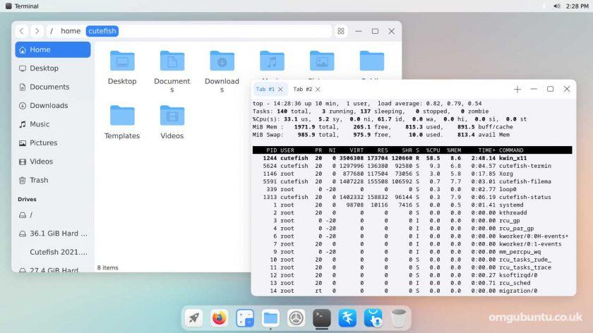 CuteFish OS Ubuntu 的屏幕截图 - 文件管理器和终端
